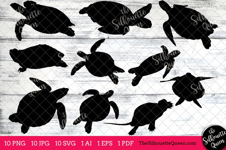 Turtle Silhouette Clipart Clip Art (AI, EPS, SVGs, JPGs, PNGs, PDF) , Turtle Clip Art Clipart Vectors - Commercial and Personal Use