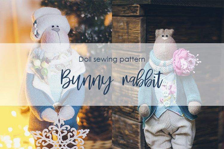 Bunny rabbit stuffed animal doll sewing pattern