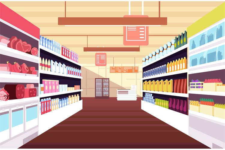 Grocery supermarket interior with full product shelves. Reta example image 1