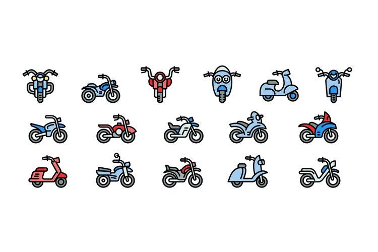 Motorbike icons set, outline style example image 1