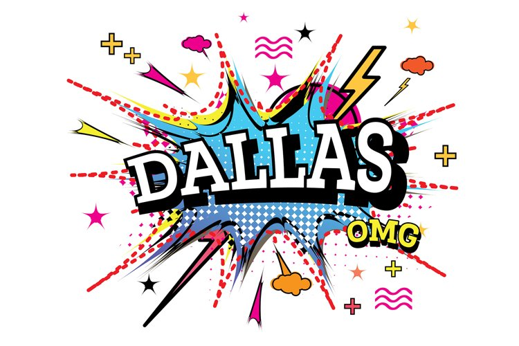 Dallas Comic Text in Pop Art Style Isolated example image 1