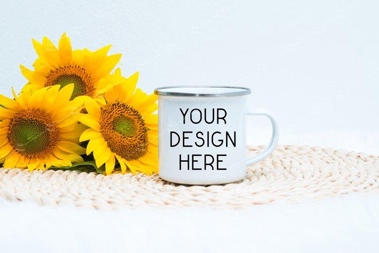 Enamel Blank White Coffee Cup Mug Mockup Sunflowers example image 1