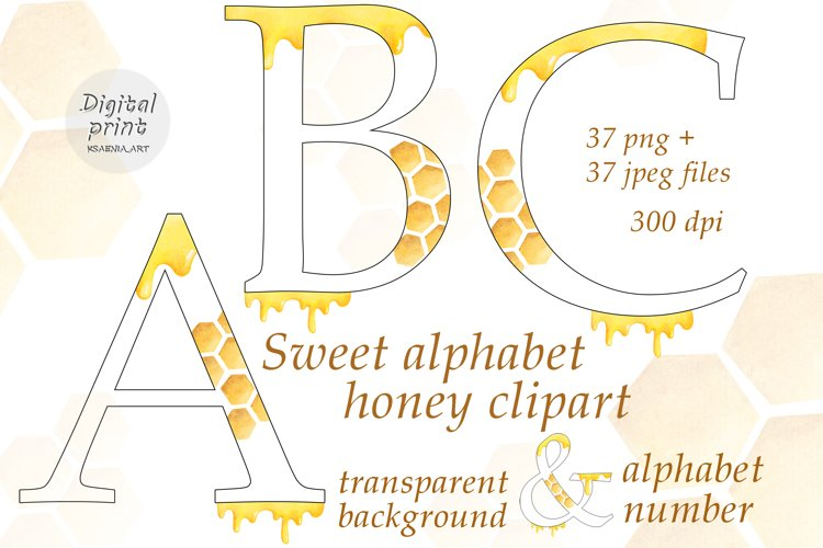 Sweet Alphabet Honey Clipart Collection of Letters