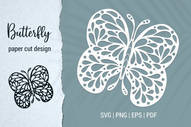 Butterfly paper cut design for Cricut and Silhouette