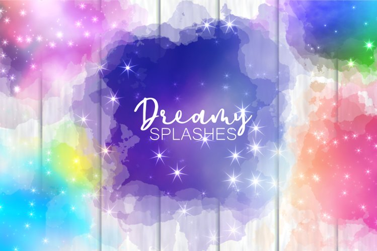 Dreamy Starry Cloudy Sky Splashes Decorative Elements example image 1