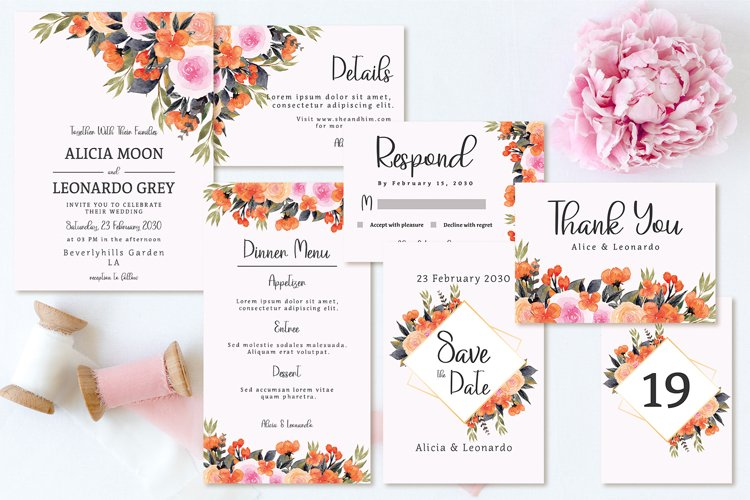 Lovely Peach And Pink Floral Wedding Invitation Set example image 1