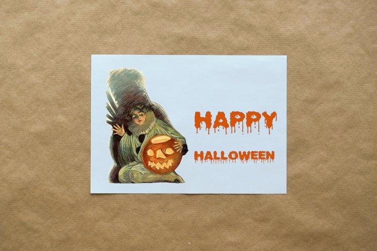 Retro halloween vintage boy and pumpkin, graphics postcard