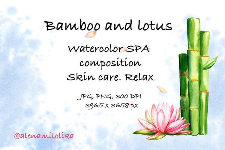 Watercolor SPA card. Skin care. Relax. Bamboo and lotus