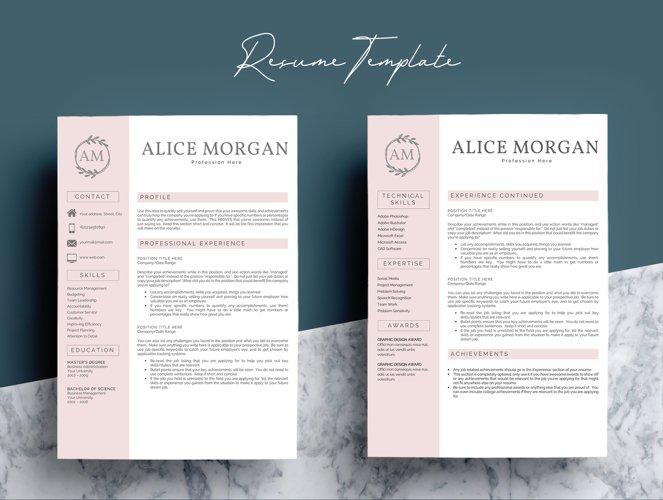 Professional Creative Resume Template - Alice Morgan - Free Design of The Week Design2