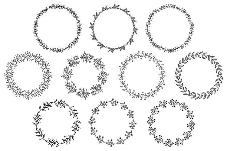 Flower Border SVG, Floral Wreath SVG, Flower Circle Wreath example image 1