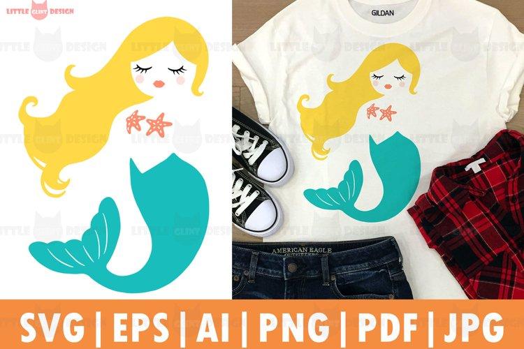 Mermaid T-shirt SVG, Mermaid Clip Art, Long Hair Meimaid
