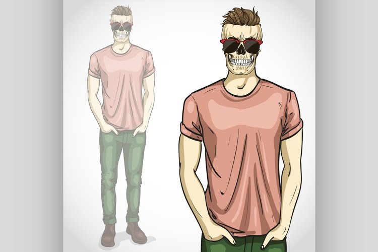 Vector man with skull with sunglasses and example image 1