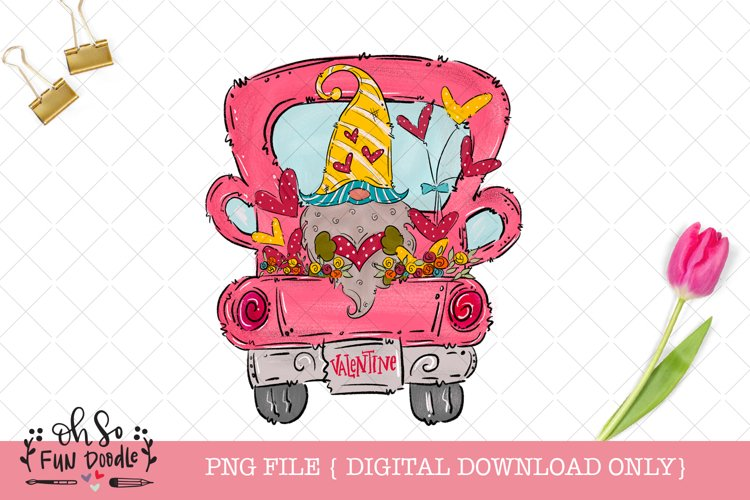 Valentine truck with gnome, PNG file, hand drawn sublimation example image 1