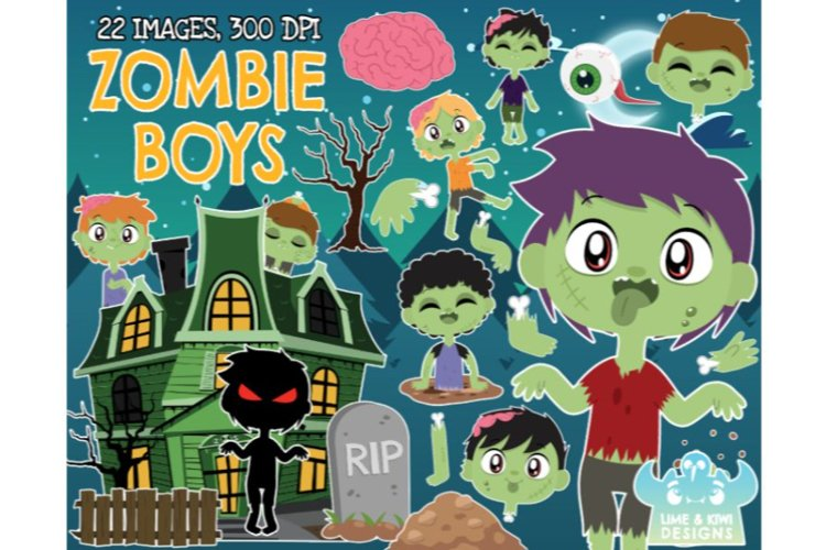 Zombie Clipart - Boys - Lime and Kiwi Designs