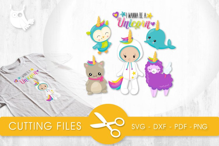 Wanna Be A Unicorn cutting files svg, dxf, pdf, eps included - cut files for cricut and silhouette - Cutting Files SG example image 1