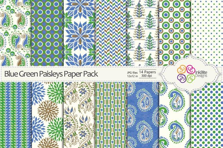Blue & Green Paisleys Paper Pack
