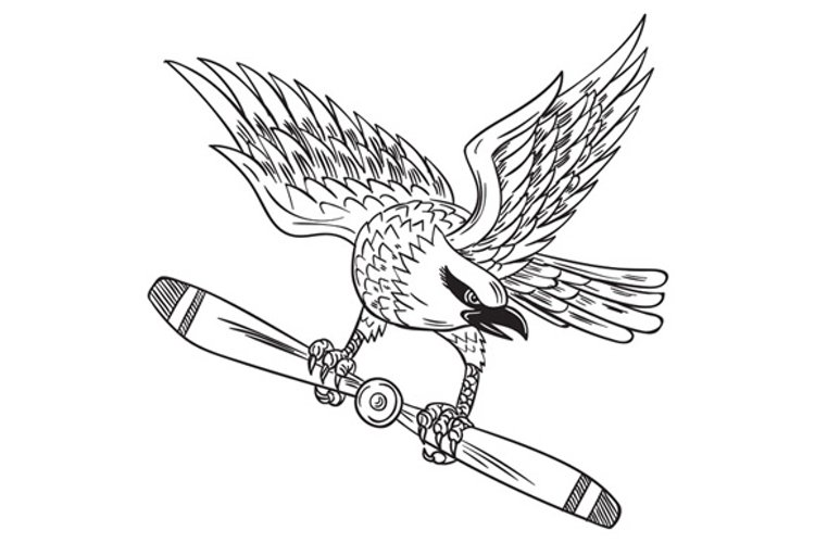 Shrike Clutching Propeller Blade Black and White Drawing example image 1