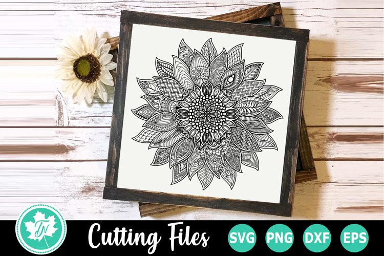 Sunflower - A Zentangle SVG Cut File example image 1
