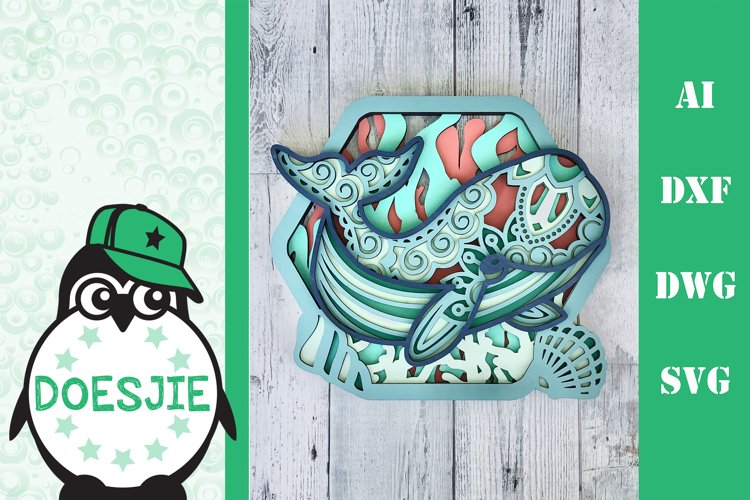 Whale SVG layered multi layer mandala sea animal nautical example image 1