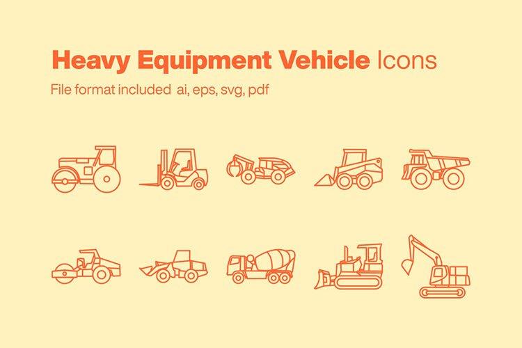 Heavy Equipment Vehicle 10 Icons example image 1