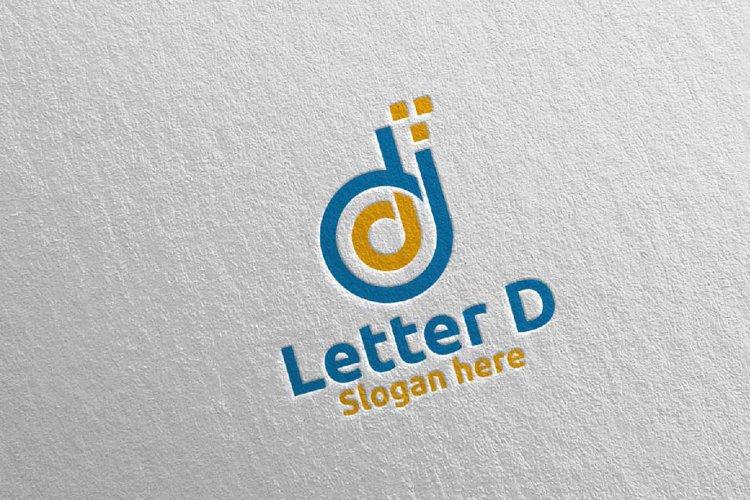 Digital Letter D Logo Design 14 example image 1