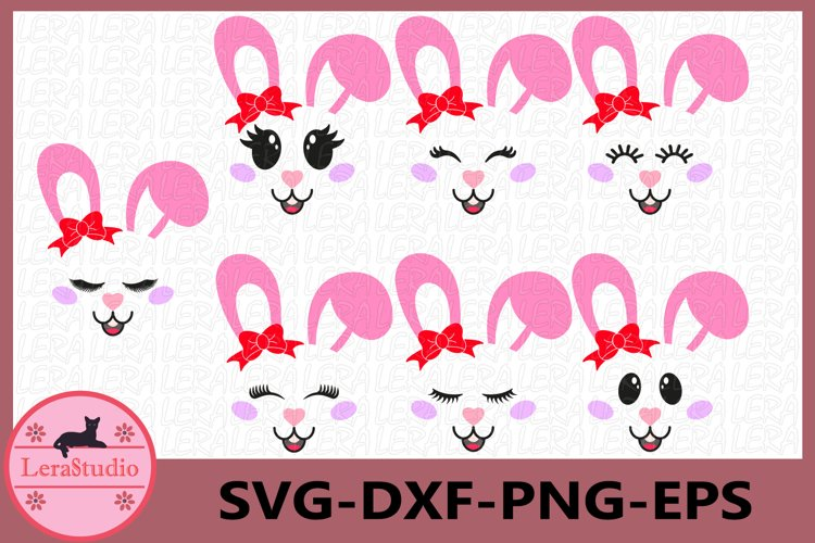 Bunny Easter SVG, Bunny Face Clipart, Bunny with bow example image 1