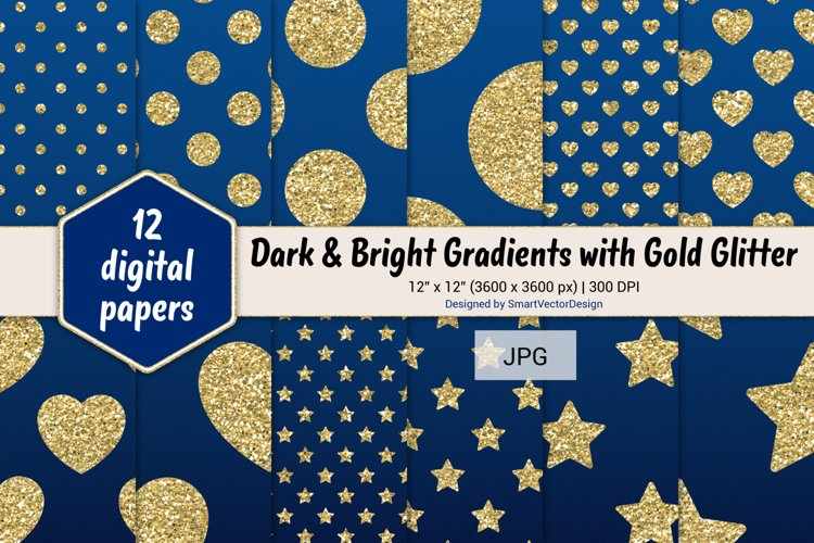 Polka Dot, Hearts, & Stars - Gradients with Gold Glitter #28 example image 1