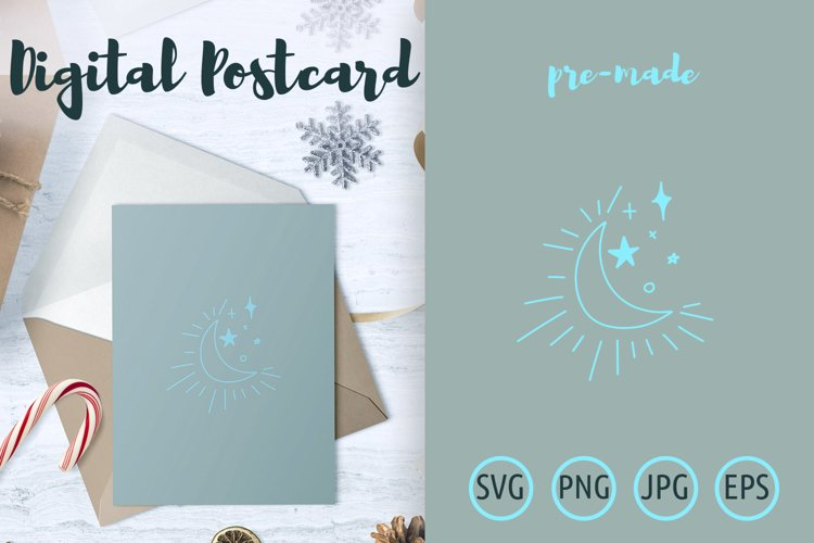 Shining crescent moon with stars postcard example image 1