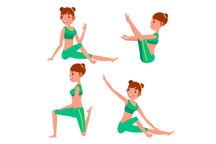 Yoga Female Vector. In Action. Meditation Positions. example image 1
