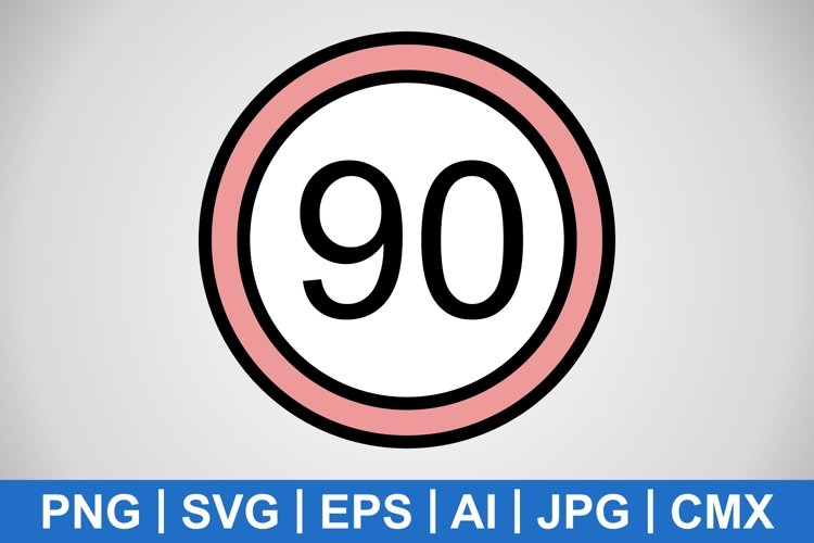Vector Speed limit 90 Icon example image 1
