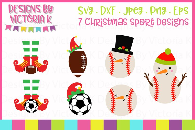 Christmas Sports, Baseball, Football, Soccer SVG Cut Files example image 1