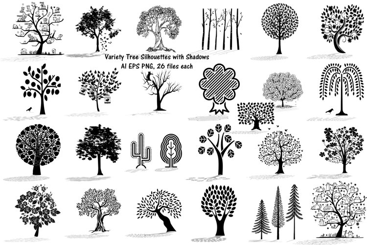 Tree Doodles & Silhouettes with Shadows AI EPS Vector & PNG