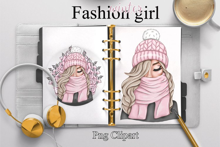 Fashion girl. Winter planner girl.Roses example image 1