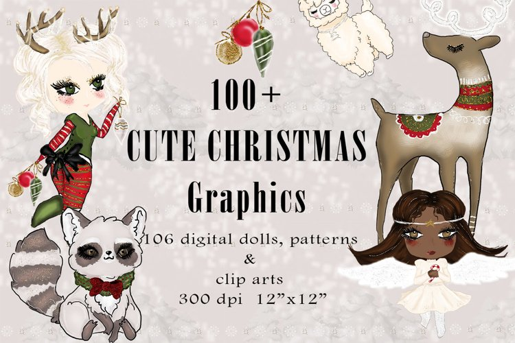 Cute Christmas Graphics, Winter Digital Papers and Cliparts