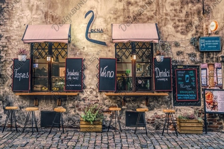 Picturesque street cafe in the Jewish quarter of Krakow example image 1