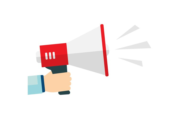 Flat vector icon of megaphone for social media marketing example image 1