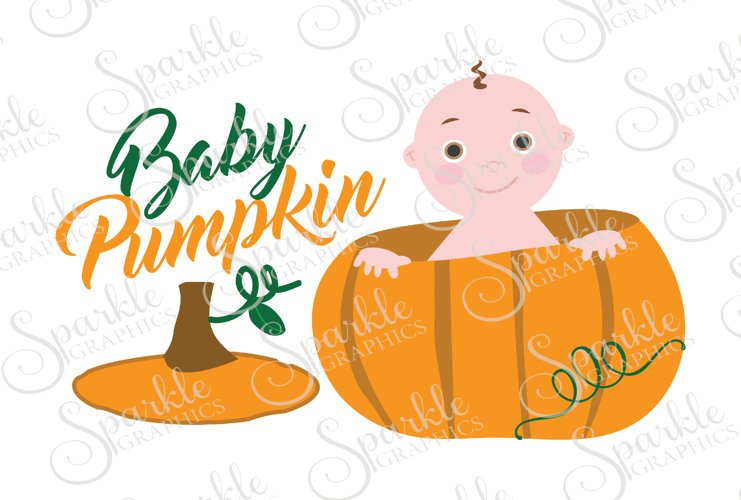 Baby Pumpkin Cut File Set   SVG, EPS, DXF, PNG example image 1