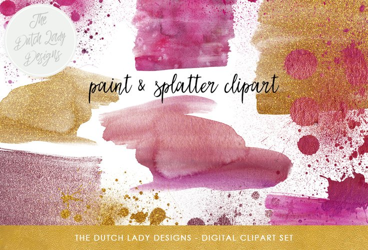 Watercolor Smears & Splatter Clipart example image 1