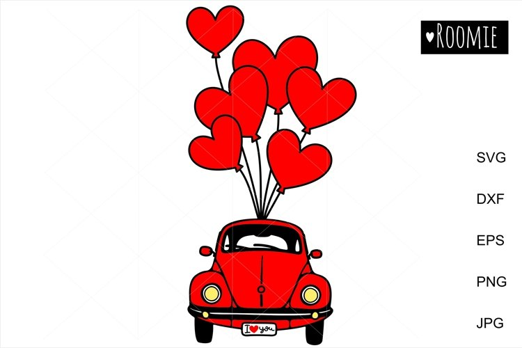 Valentines heart truck Svg, Retro red car, i love you SVG example image 1