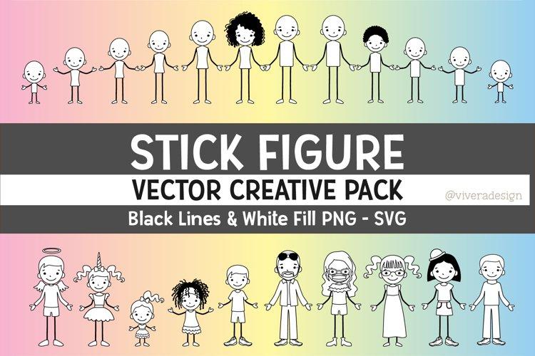 Vector Family Stick Figures EPS | SVG | PNG - Line Art