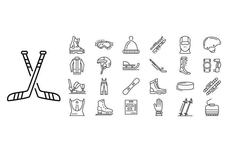 Winter sports icon set, outline style example image 1