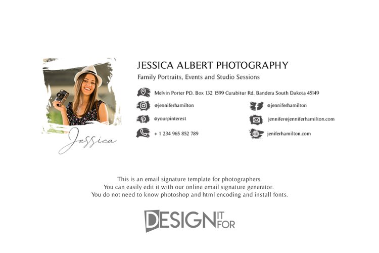 Email Signature Template with Logo for Photographer