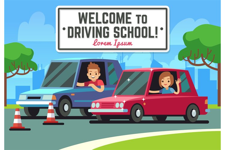 Driving school vector background with young happy driver in example image 1