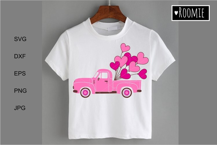Pink truck Svg, Retro car, Hearts svg, i love you Shirt Card example image 1