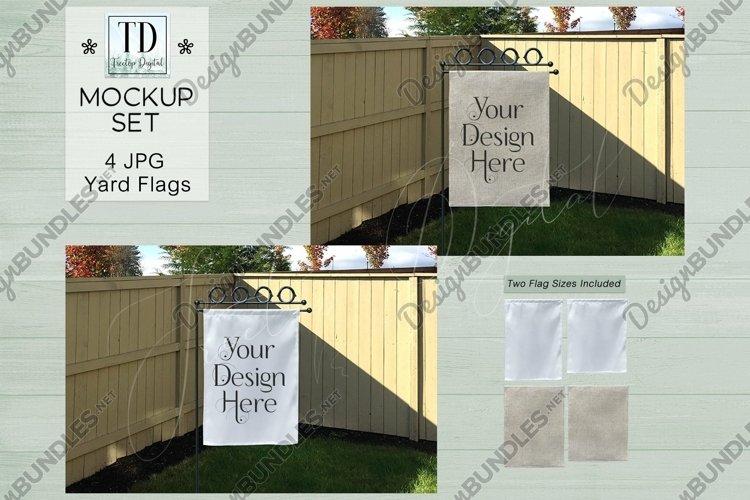 Yard Flag Mockups for Autumn, White & Burlap Flag Mock-Ups example image 1