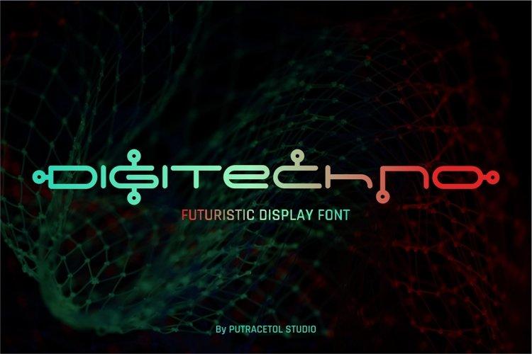 Digitechno - Futuristic Font example