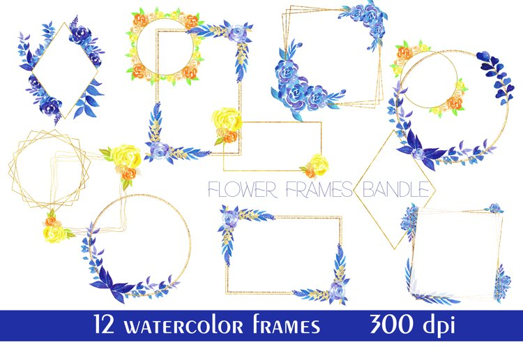Flower frames with blue and yellow flowers,Watercolor Flower