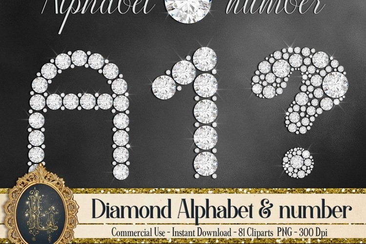 81 Diamond Alphabet, Number, Symbol Clip Arts Not a Font example image 1