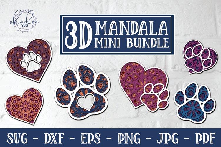Download 3d Mandala Pet Mini Bundle 3d Paw Print 3d Heart Svg Dxf 990138 Paper Cutting Design Bundles