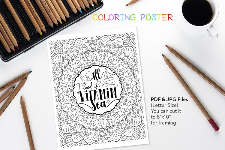 All I Need is Vitamin Sea - Coloring Anti-Stress Page